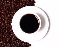 черная чашка coffe горячая Стоковое Изображение