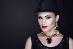 Черная шляпа женщины Стоковые Изображения RF