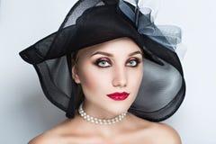 Черная шляпа женщины Стоковые Фото