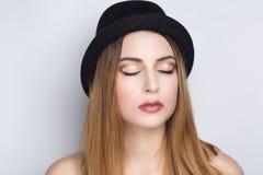 Черная шляпа женщины Стоковое Изображение