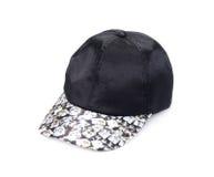 Черная шляпа бейсбола, крышка ` s людей на белой предпосылке Стоковые Фотографии RF