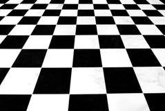 черная checkered белизна пола Стоковая Фотография