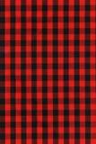 черная checkered текстура красного цвета ткани Стоковое Изображение