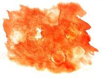 Чернила воды цвета watercolour помаркой краски выплеска оранжевые изолировали wa Стоковые Изображения RF