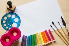 Чернила фонового изображения и другие чертегные инструменты Стоковая Фотография RF