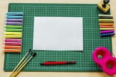 Чернила фонового изображения и другие чертегные инструменты Стоковая Фотография