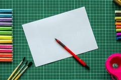 Чернила фонового изображения и другие чертегные инструменты Стоковое фото RF