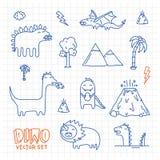 Чернила Dino doodles комплект вектора шаржа Стоковое Фото