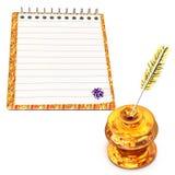 Чернильница и тетрадь золота Стоковая Фотография RF