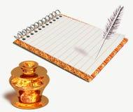 Чернильница и тетрадь золота Стоковые Изображения RF