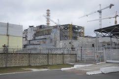 Чернобыль, УКРАИНА - 14-ое декабря 2015: Атомная электростанция Чернобыль Стоковое Изображение