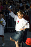 Черногория, Herceg Novi - 04/06/2016: Девушка в украинском костюме Стоковые Изображения RF