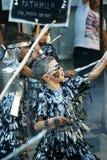 Черногория, Herceg Novi - 04/06/2016: Ратники звезды выполняют танец Стоковое Фото