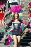 Черногория, Herceg Novi - 04/06/2016: Танцор от клуба Diano в причудливом платье Стоковые Фотографии RF