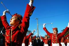 Черногория, Kumbor - 02/06/2016: Парад majorettes Herceg Novi на празднике 47 мимозы Стоковое фото RF