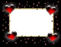 черное Валентайн сердца рамки Стоковое Изображение