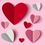 черное Валентайн красного цвета бумаги сердца Стоковые Фотографии RF