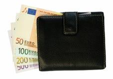 черное евро замечает бумажник Стоковое Изображение