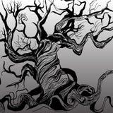 Черное дерево в стиле нарисованной руки Стоковые Фото