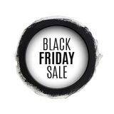 Черное знамя акварели круга продажи пятницы Стоковые Изображения