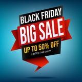Черное знамя продажи пятницы на голубой предпосылке бесплатная иллюстрация