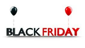 Черное знамя продажи пятницы с сияющими воздушными шарами изолированными на белой предпосылке, 3D-Illustration иллюстрация штока