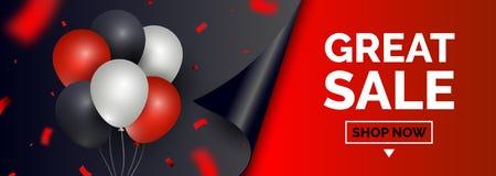 Черное знамя продажи пятницы, шаблон для социального продвижения столба средств массовой информации Геометрические квадратные пре иллюстрация вектора
