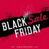 Черное знамя продажи пятницы на красной предпосылке knitwear, векторе Стоковая Фотография
