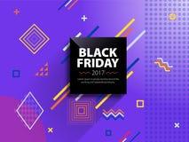 Черное знамя сети продажи пятницы Продажа плаката Шаблон в стиле Мемфиса Модное и современное знамя для рекламировать черный квад Стоковые Фото