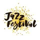 Черное золото каллиграфии литерности текста джазового фестиваля Стоковая Фотография