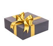 черное золото подарка коробки смычка Стоковые Изображения