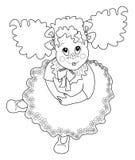 черное изображение девушки цвета ребенка к белизне Стоковое Фото