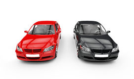 Черное и красное автомобильное взгляд сверху Стоковые Фотографии RF