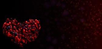 Черное и красное сердце текстура акриловых чернил абстрактная предпосылка Стоковые Фотографии RF