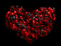 Черное и красное сердце текстура акриловых чернил абстрактная предпосылка Стоковое Изображение RF