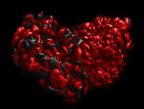 Черное и красное сердце текстура акриловых чернил абстрактная предпосылка Стоковая Фотография RF