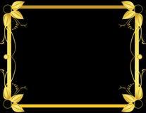 черное листовое золото рамки Стоковые Изображения
