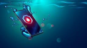 Черное падение смартфона в воду Мобильный умный телефон тонет подводная поверхность Электронный телефон водоустойчивых или воды с иллюстрация вектора