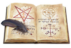 Волшебная книга с пером Стоковые Фото