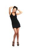 черное платье брюнет сексуальное Стоковое Изображение RF