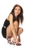 черное платье коктеила брюнет немногая Стоковая Фотография RF