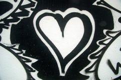 черное покрашенное сердце белым Стоковое Изображение