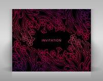 Черное приглашение с флористическим украшением Стоковые Изображения RF