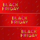 черное сбывание пятницы Красное знамя сети рекламировать Стоковые Изображения