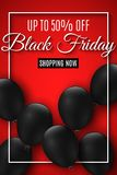черное сбывание пятницы Реалистические черные воздушные шары на красной предпосылке большие рабаты Для вашего проекта дела Рогуль стоковая фотография rf