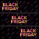 черное сбывание пятницы Черное знамя сети Продажа плаката Стоковые Фото