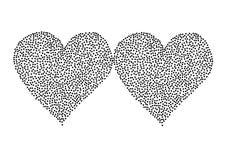 Черное сердце точек польки изолированное на белом backgr Стоковое Фото
