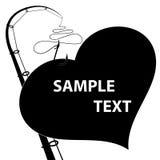 Черное сердце на удя крюке Справочная информация Стоковые Фото