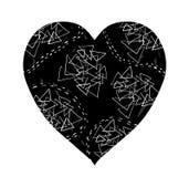 Черное сердце с белыми линиями doodle Иллюстрация штока