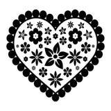 Черное сердце с цветками Стоковые Изображения